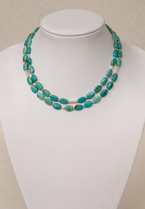 Delicate Natural Turquoise Necklace with Pearls, Double-strand – Gemstone Jewellery, Crystal Jewelry, Semi-Precious Stone | Unikat: Zarte Türkis Kette (natur) mit Perlen, zweireihig – Edelstein Halskette, Türkis Schmuck