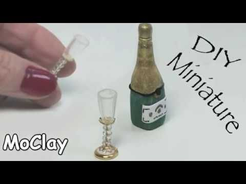 diy Dollhouse miniature - How to make goblets and champagne bottle - YouTube