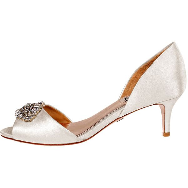 Badgley Mischka Women's Petrina Slip-On Pump - Cream/Tan, Size 10 (425 PLN) ❤ liked on Polyvore featuring shoes, pumps, cream pumps, cream shoes, studs shoes, tan shoes and slip-on shoes