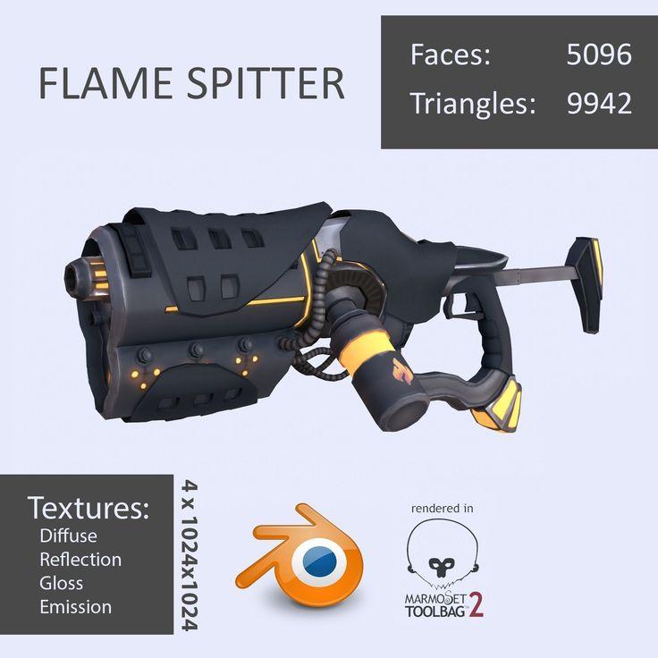 flame spitter 3d model max obj fbx ma mb blend tga 1