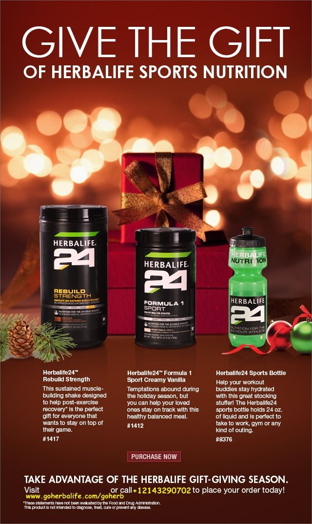 This Christmas give the gift of HEALTH, BEAUTY and TOTAL WELLNESS to your friends and your family! With HERBALIFE! HERBALIFE MEMBERS don't need to go to any overcrowded shops and pay exaggerated prices! We have our HERBALIFE WEBSHOP, paying with our members discounts - and our gifts will be delivered directly to our doorstep! Easier does not exist! GET IN PERFECT SHAPE FOR XMAS! Contact me TODAY to get your own HERBALIFE MEMBERSHIP! SABRINA https://www.goherbalife.com/goherb/