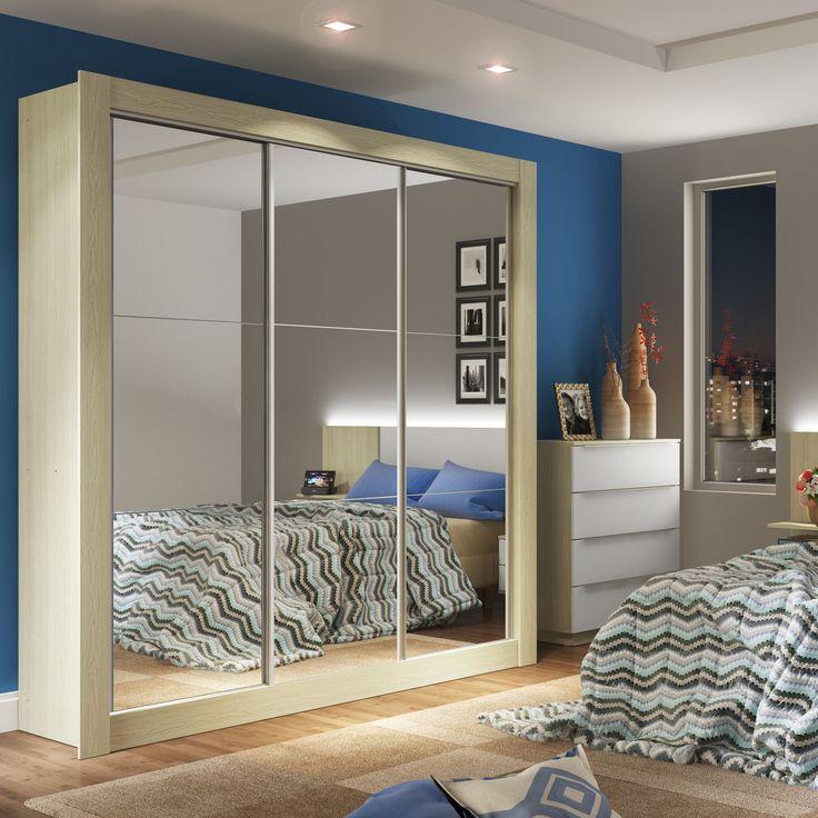 Seu quarto é pequeno? Então aposte em guarda-roupa com portas de correr e espelhos. Os espelhos proporcionam sensação de amplitude e deixam a decoração ainda mais elegante.