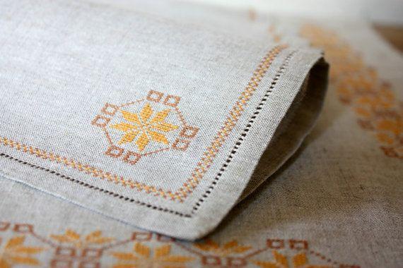 Linen Tablecloth Gray Embroidered Linen Napkins by VintageByLeni, $20.00