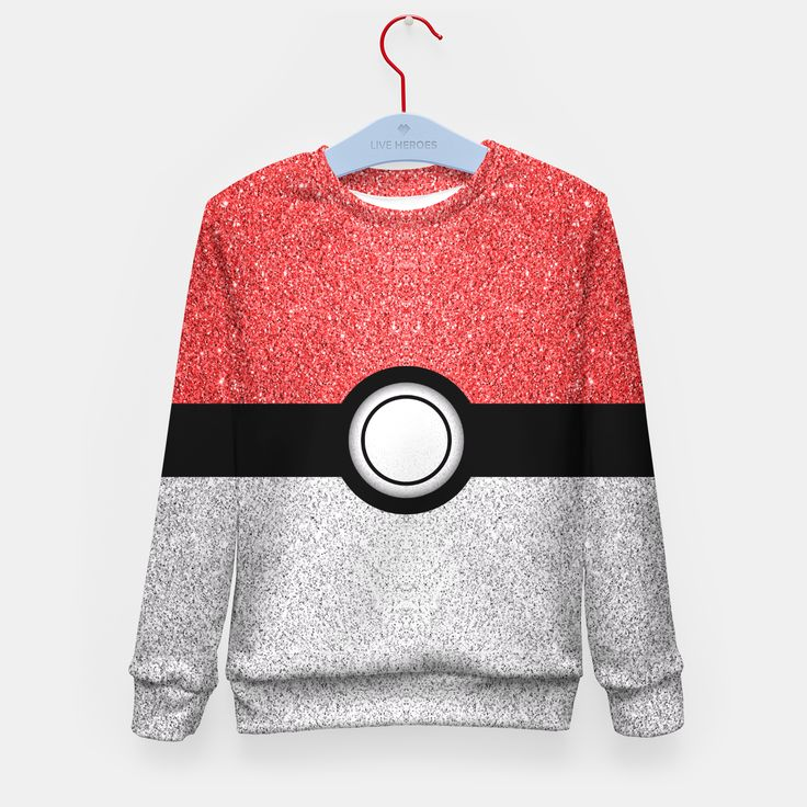 Sparkly red and silver sparkles poke ball Kid's Sweater by PLdesign 24.95€