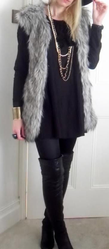 Gorgeous grey faux fur gilet and knee high boots - perfect for autumn/winter.