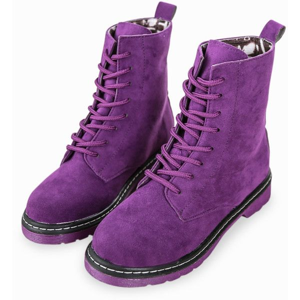 Classic Martin High Top Lace Up Suede Boots In Purple via Polyvore featuring shoes, boots, purple high tops, high top boots, suede boots, purple shoes and laced boots