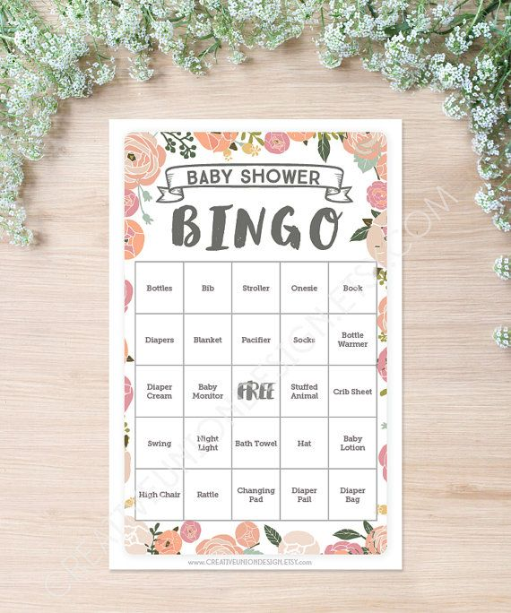 Vintage Rose Baby Shower Bingo. Baby Bingo is everyone's favorite game to play at baby showers! Instantly download this game on our Etsy shop for only $5! You will get 50 unique baby bingo boards. Print them at home. Its that easy! #babyshowergames