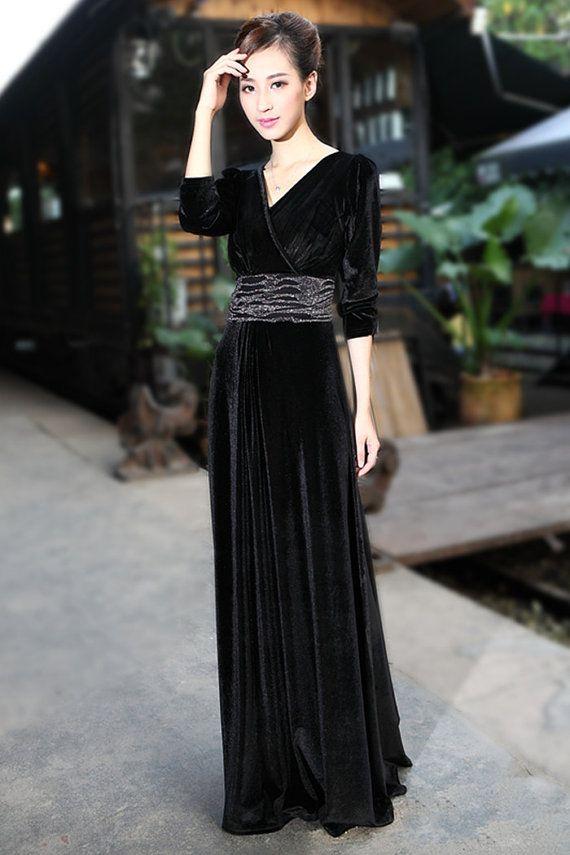 Black Velvet Dress Long Party Formal Evening Maxi Dress ...