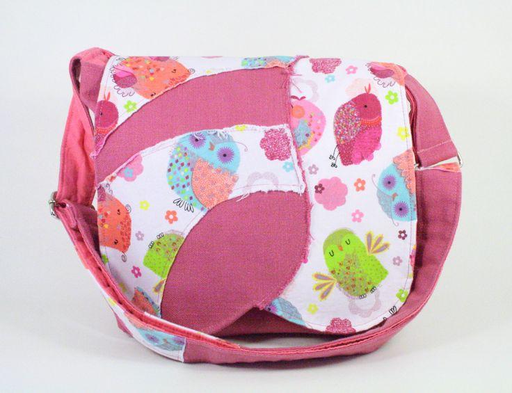 Sacoche rose pour fillette Sac rose avec hiboux Sac à bandoulière coloré de la boutique Mafelou sur Etsy