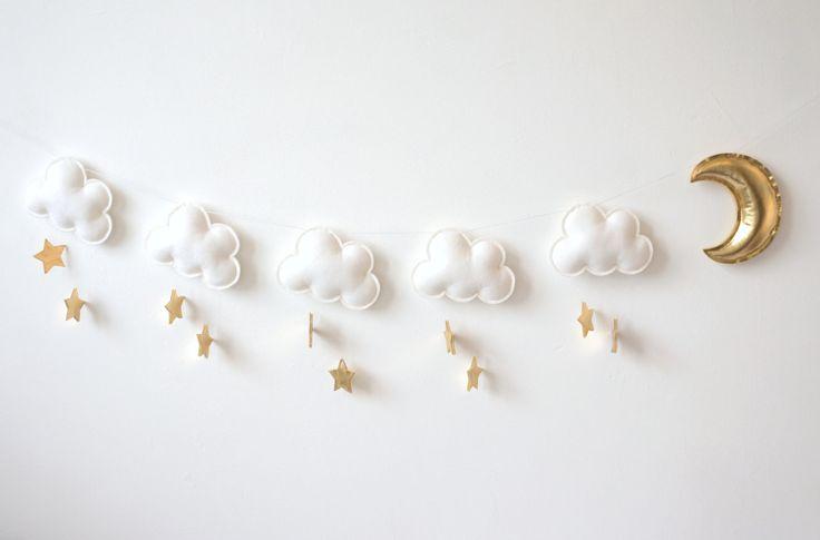 Cloud Star Moon Garland White gold nursery garland by LilyRazz