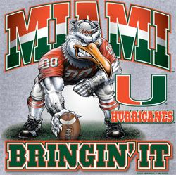 Miami Hurricanes Football T-Shirts - Bringin It - Unique College T-Shirts