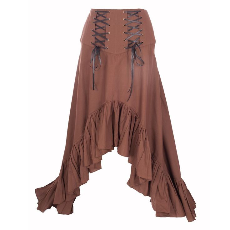 An asymmetrical brown Steampunk skirt with frill hem to make you feel like a princess. The contrasting black crisscross lacing at the waist is eye catching making you center of attention.  Dry Clean Only