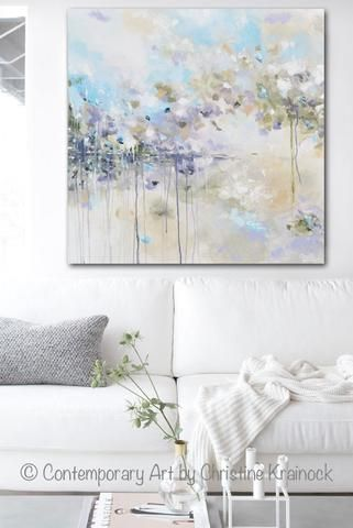 """""""Just Breathe I"""" Original Art Abstract Painting 30x30"""" Modern, Large Art, Wall Art, Coastal, Home Decor. textured, palette knife, abstract floral fine art with neutral muted shades of light turquoise blue, aqua, lavender, grey, taupe, beige, & white. Mixed Media Acrylic gallery fine art home decor wall art, interior design farmhouse living room. Artist, Christine Krainock"""