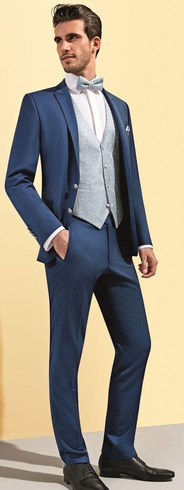BODY LINE Hochzeitsanzug von Tziacco in Italien Blue in einem glänzenden Feinserge, taillierter Schnitt