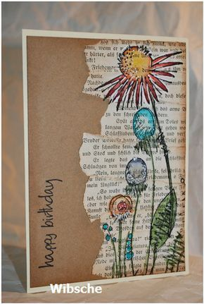 Birthday card with a torn book page and flowers
