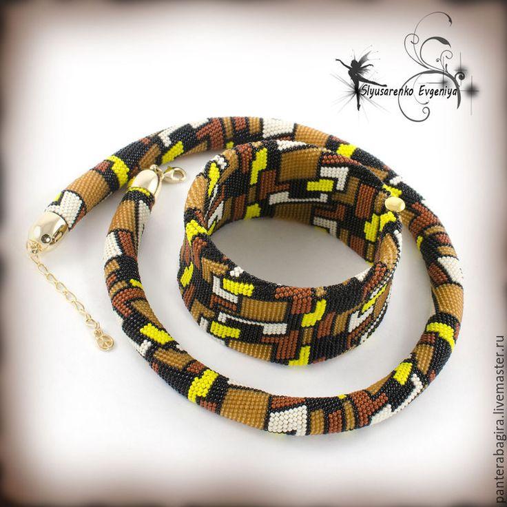 """Купить Жгут из бисера браслет """"Шоколадное ассорти"""" комплект украшение - ожерелье из бисера жгут"""
