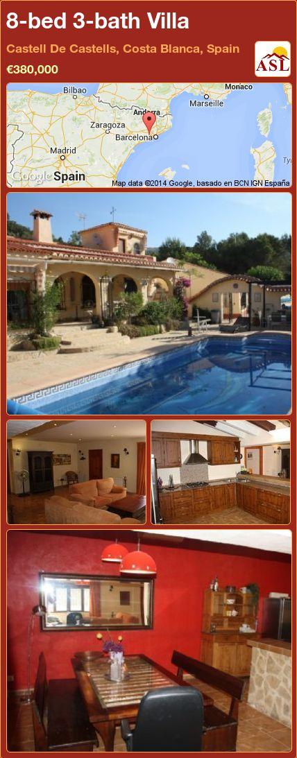 8-bed 3-bath Villa in Castell De Castells, Costa Blanca, Spain ►€380,000 #PropertyForSaleInSpain