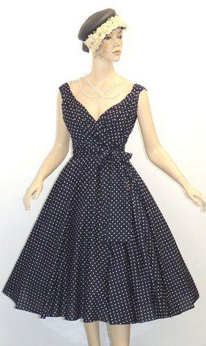 Abito Donna Stile Vintage Anni 50 Blu Mare Pois 'Hepburn' Estivo per Balli Swing | eBay $47.19