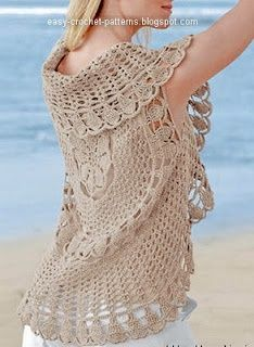 Free Crochet Pattern 90556AD Circle Vest : Lion Brand Yarn