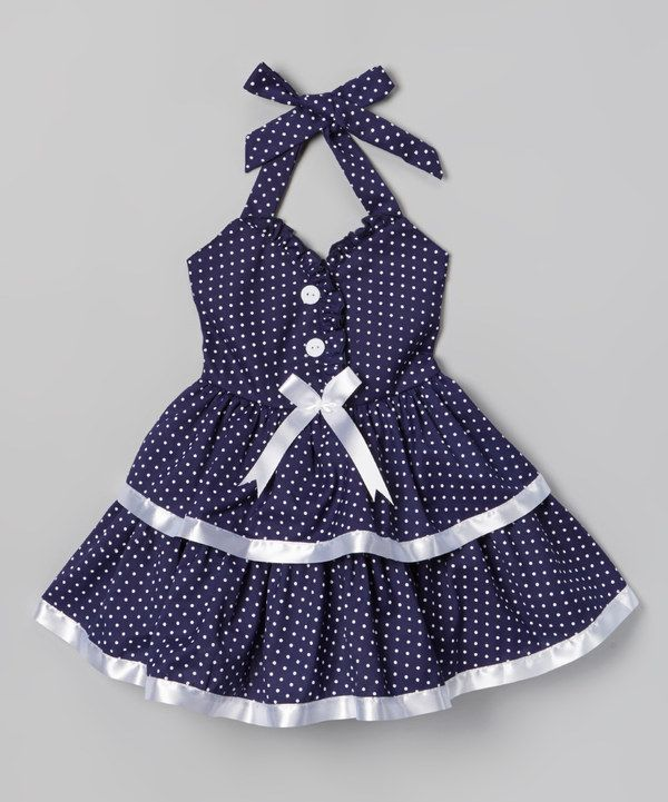 Loving this Navy Polka Dot & Bow Dress - Toddler & Girls on #zulily! #zulilyfinds
