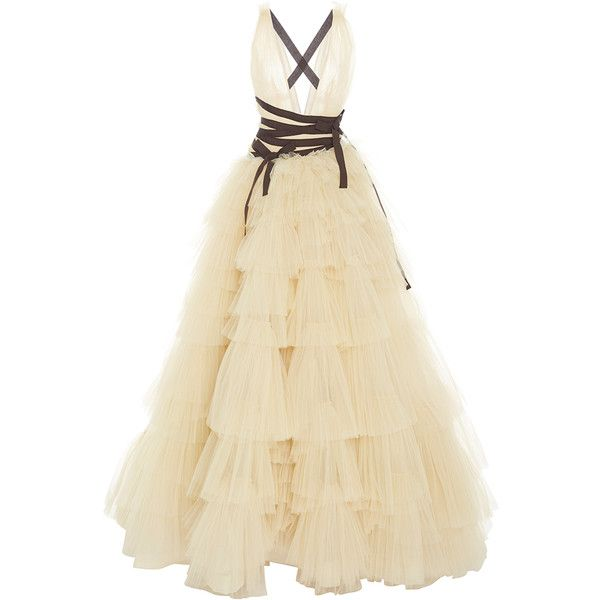 Carolina Herrera V Neck Tiered Skirt Ball gown ($7,490) ❤ liked on Polyvore featuring dresses, gowns, v neck dress, v neck gown, low v neck dress, deep v neck gown and tiered maxi skirt