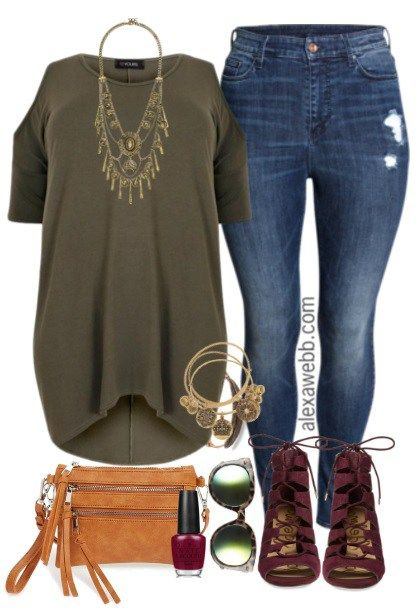 Plus Size Dipped Hem Top & Jeans Outfit - Plus Size Fashion for Women…