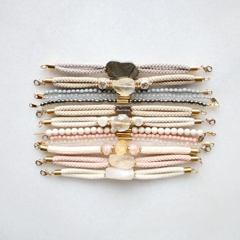 Bracelets with pyrite, lemon quartz, citrine and sunstone