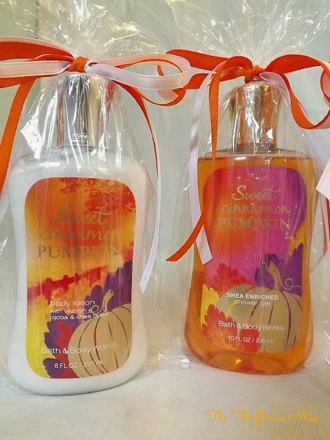 """Baby Shower Game Prize -- Sweet Cinnamon Pumpkin shower gels and lotions from Bath& Body Works for a """"Little Pumpkin"""" themed baby shower #babyshower #Prize"""