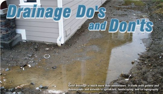 Drainage Do's and Don'ts - waterproofmag.com                                                                                                                                                     More