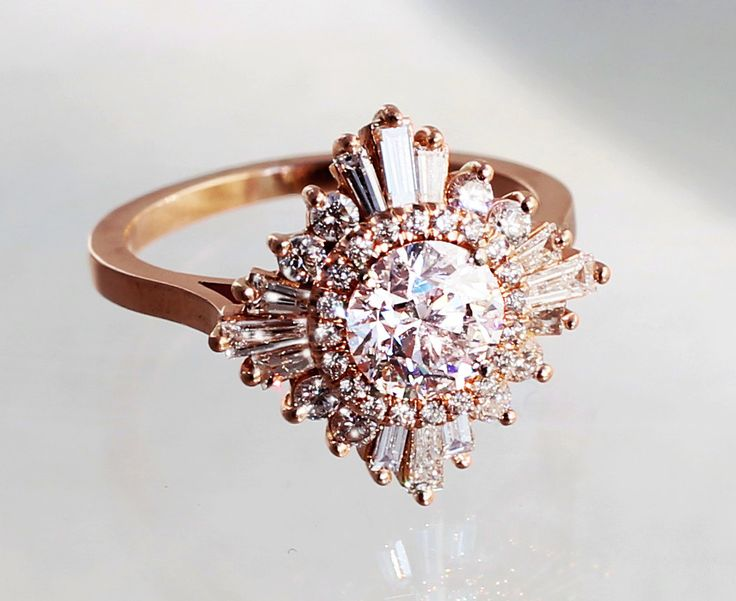 Rose gold Art Deco ring.- custom made