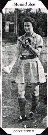 Olive Little, 1943, Rockford Peaches pitcher. AAGPBL