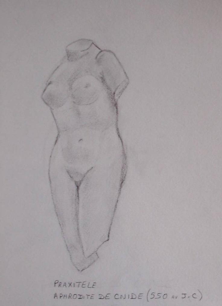 Aphrodite de Cnide - dessin réalisé au Musée du Louvre