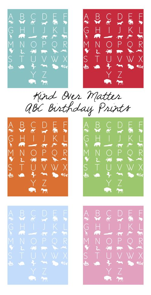 Freebie Alert : Kind Over Matter ABC Birthday Prints!
