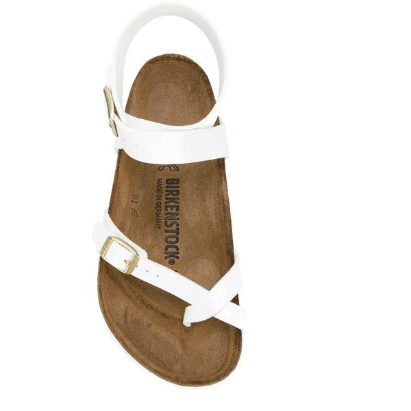 Birkenstock flip flops (€71) ❤ liked on Polyvore featuring shoes, sandals, flip flops, patent leather flip flops, white flip flops, birkenstock, patent sandals and birkenstock shoes