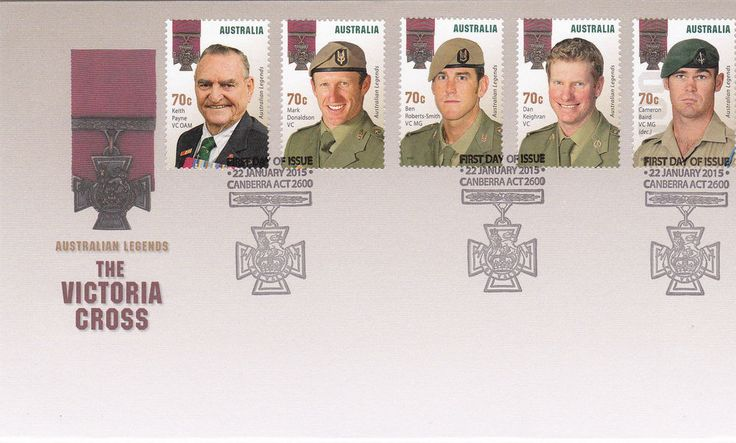 2015 Australian Legends! The Victoria Cross Recipients (Gummed Stamps) FDC
