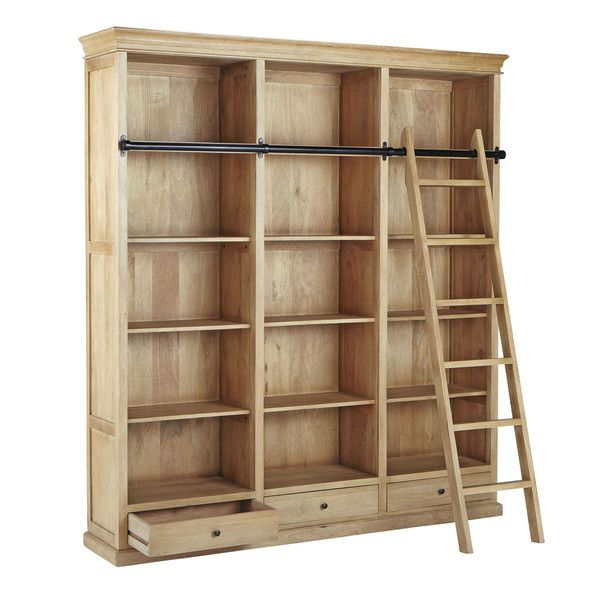 Mango wood bookcase with ladder w 190cm naturaliste for Meuble bibliotheque avec echelle