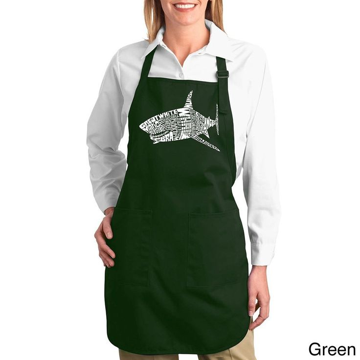 Los Angeles Pop Art Shark Names Cotton Kitchen Apron (
