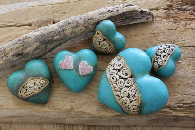 Handgefertigtes Keramik-Herz für drinnen und draußen