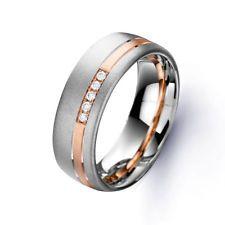 rose gold men's wedding bands | Men's 18ct White & Rose Gold Diamond Wedding Band 0.05ct
