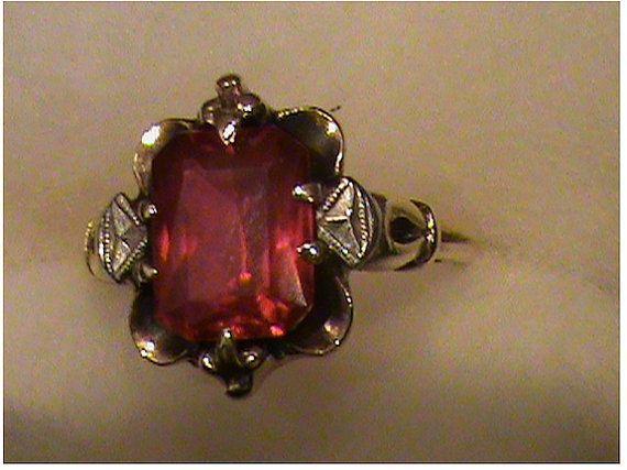1930s 10k DEEP RED GARNET Ring, Vintage, Antique, Size 6   $215.00