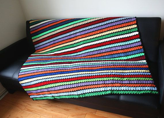 Colorful Afghan Multi Colors Handmade Throw big crochet