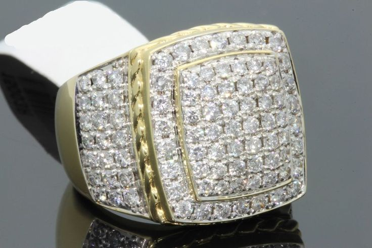 YELLOW GOLD FINISH 3.00 CARAT MENS DIAMOND ENGAGEMENT WEDDING PINKY RING BAND #br925silverczjewelry #MensWeddingPinkyRing