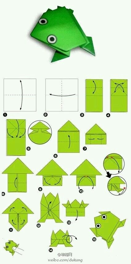 Rana de papel. Papiroflexia. Origami.