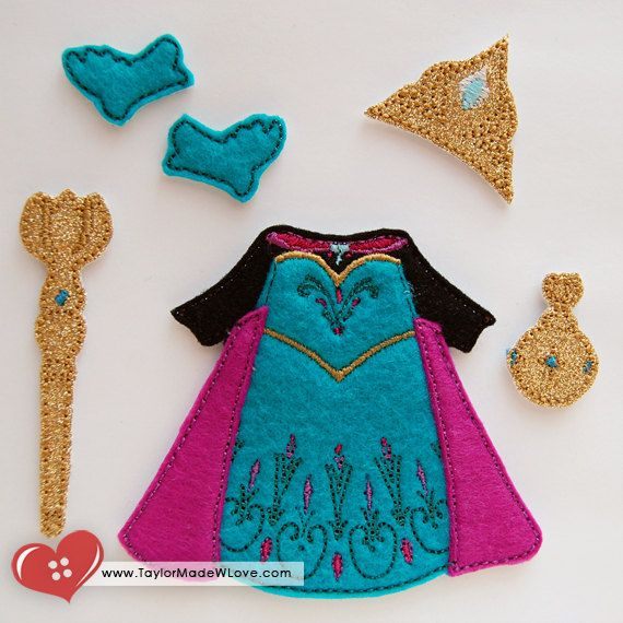 Coronation Dress With Cape Felt Paper Doll Outfit Digital Design File - Cold Winter Snow Queen, Princess Elsie, Blue, Pink, Gold, Dress Up
