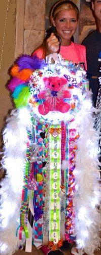Melz Mumz MEGA Triple Homecoming Mum senior Martin High School Lighted Boas and multi color.   big unique custom homecoming mums made by melzmumz.com