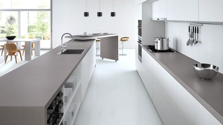 Caesarstone sleek concrete with white cabinets