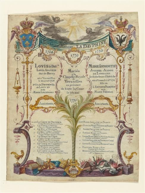 List of witnesses to the marriage of Marie-Antoinette and Louis XVI, 1770, gouache on vellum (Versailles).