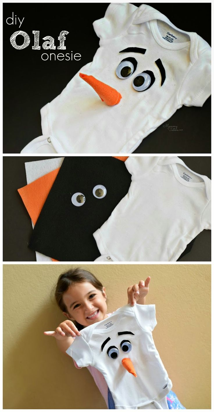 Um Yes!  DIY Olaf onesie.  Takes just a few minutes to make and is so stinkin' cute.  Perfect for Halloween or just to make an older sibling smile. #FROZEN #Olaf