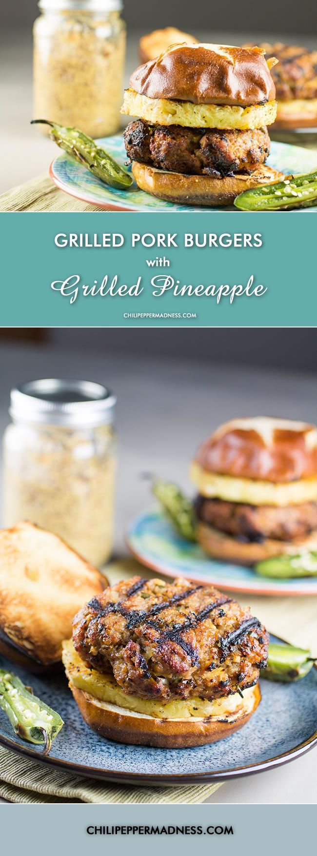 Grilled Pork Burgers – These burgers are made with ground pork and a ...