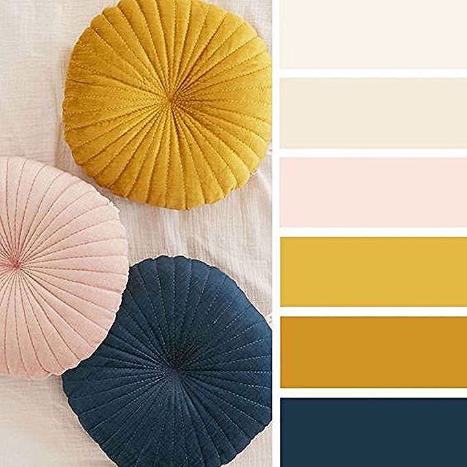 Deco Couleur Jaune Moutarde Rose Bleu Nuit Paon Bleu Canard Blog Deco Clem Around The Corner Coussin Rond Matelasse Jaune Moutarde Bleu In 2020 Girl Nursery Colors Boys Bedroom Themes Baby Bedroom